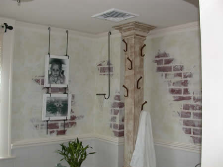 Faux bricks, wooden towel rack.