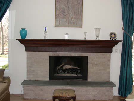 custom mantle shelf- Greek key
